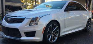 ATS-V performance white coupe